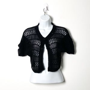 Vintage 1990s Black Cropped Knit Y2K Cardigan
